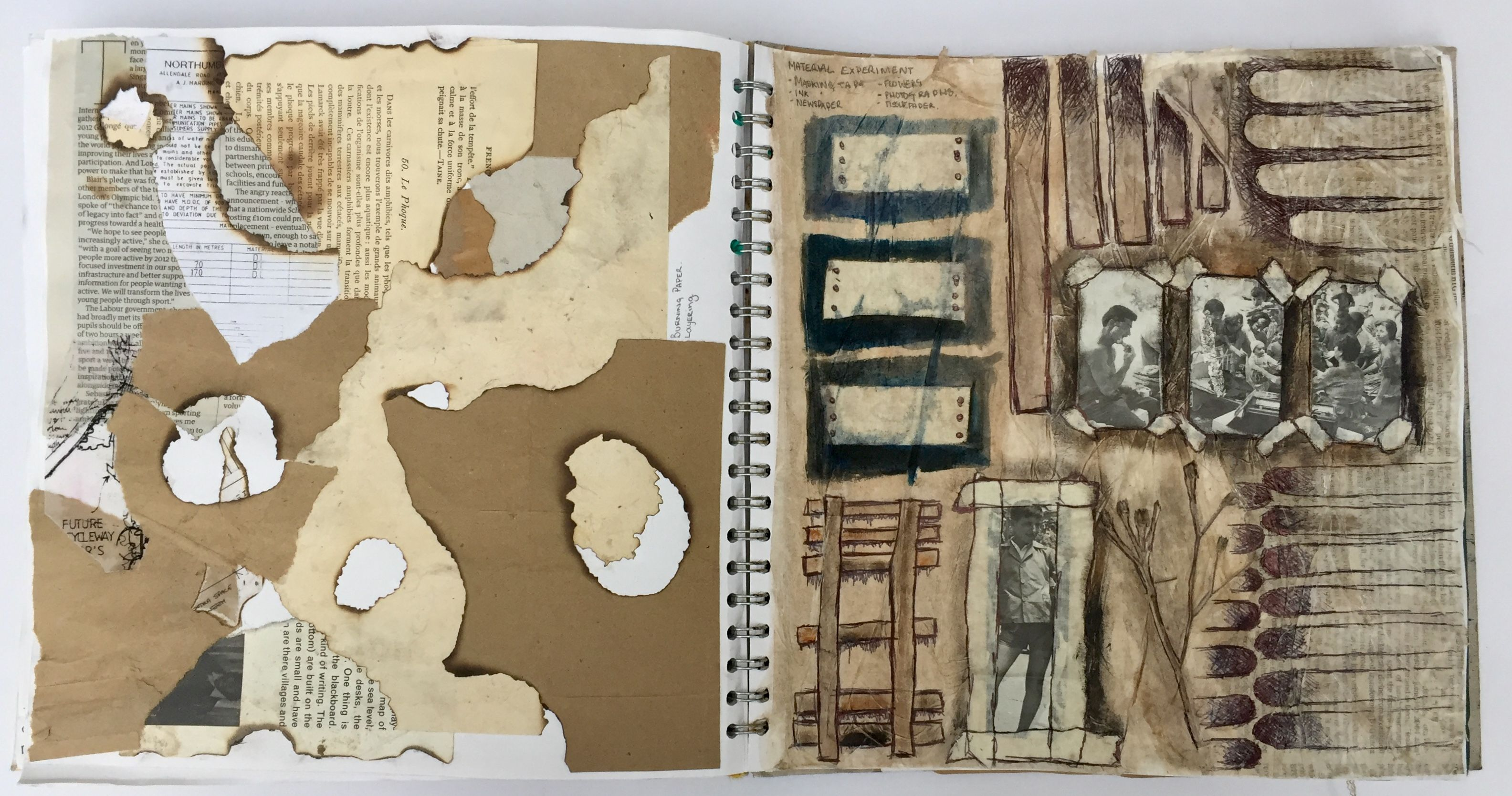 Experimenting With Paper And Fire Using Found Materials Final Project For Gcse Art Grade 9 A Textur Gcse Art Sketchbook Sketchbook Layout Art Sketchbook