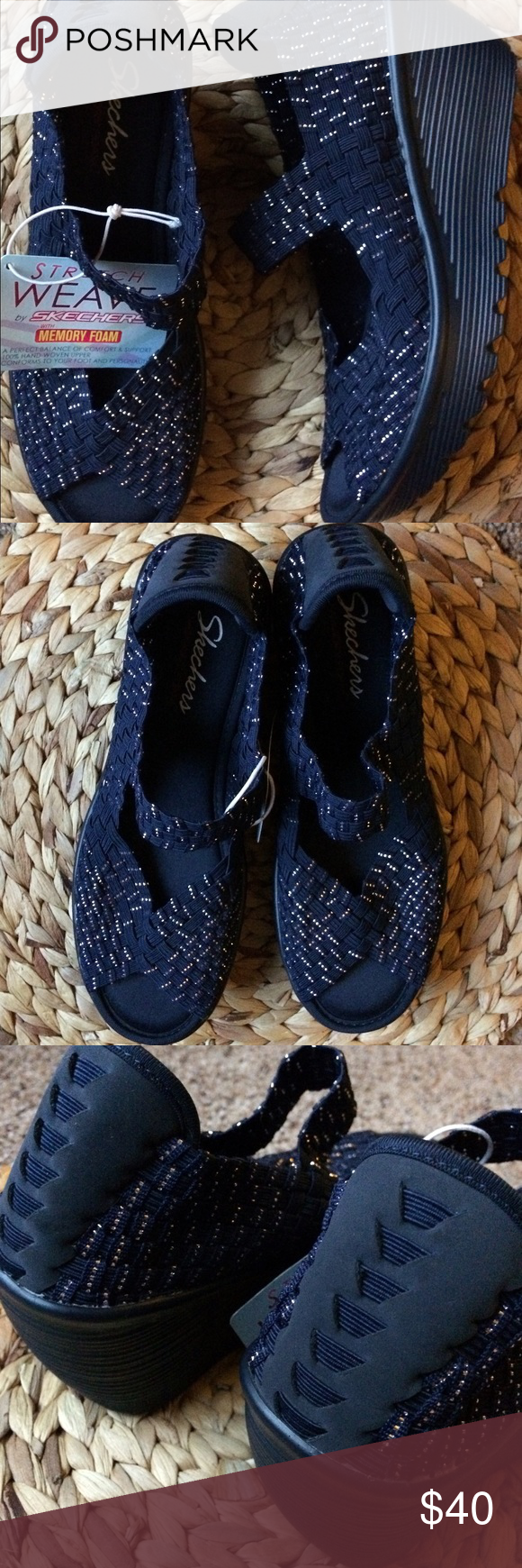 New Skechers Stretch Weave Wedge Navy Silver Brand New