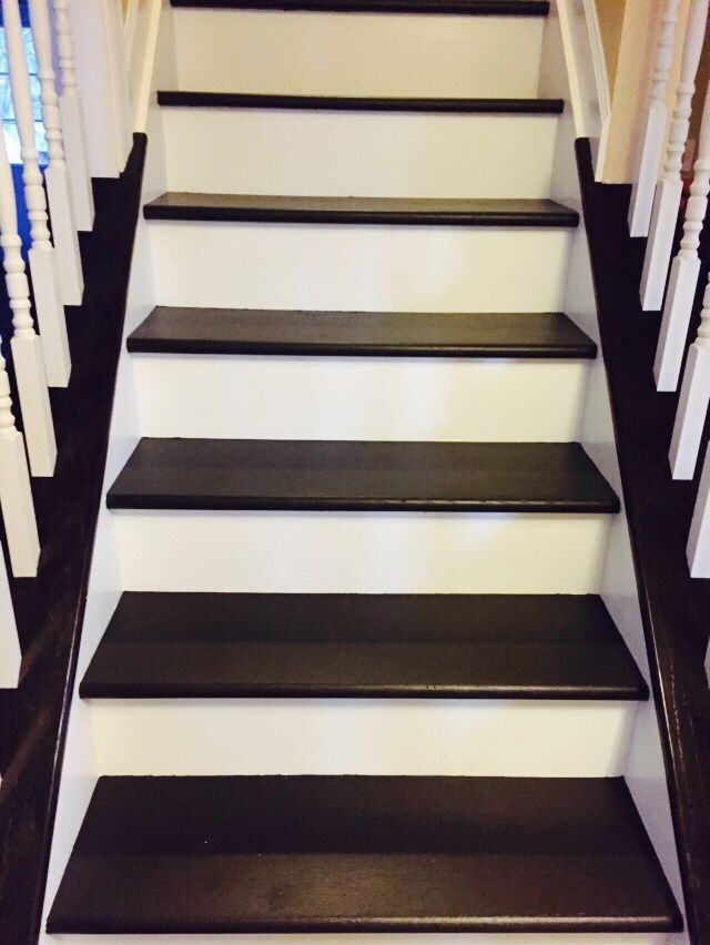 Painted Our Wood Steps Using Sherwin Williams Floor Paint On Treads And White Trim Risers