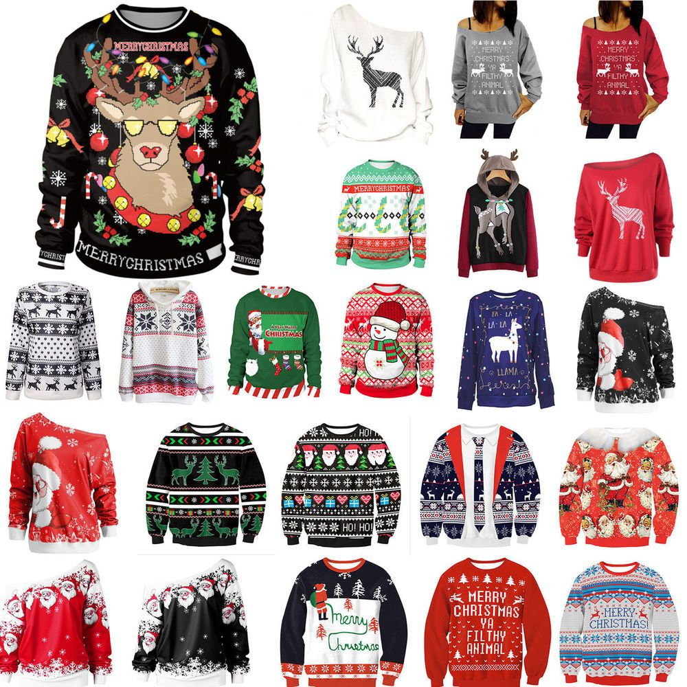 d7f73517167a8b Women Men Christmas Sweater Xmas Jumper Tops Sweatshirt Hoodie Pullover  Shirts
