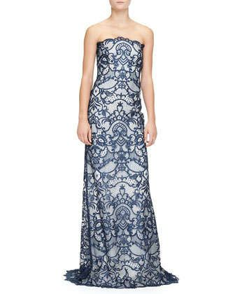 9fd1ebf100db Strapless Guipure Lace Gown by Monique Lhuillier at Neiman Marcus.