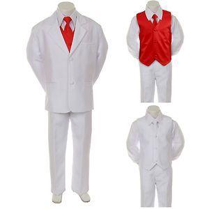 Boy Teen Formal Wedding Party 7pc Black Suit Tuxedo R Blue Vest Bow Tie 8-14