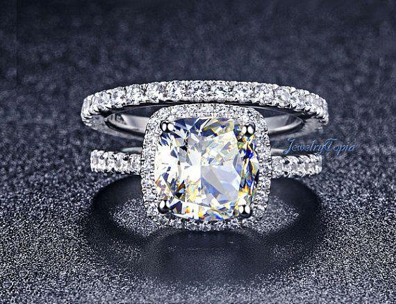 355Cts Cushion Cut Halo With Eternity Band Lab Created Simulated Grown Wedding Set Diamond