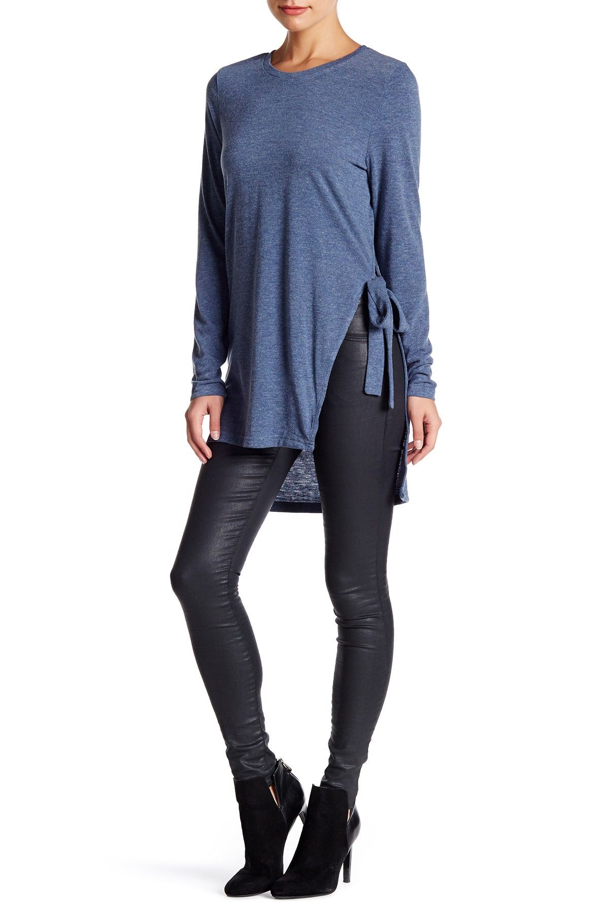 Heathered Knit Split Seam Self-Tie Tunic