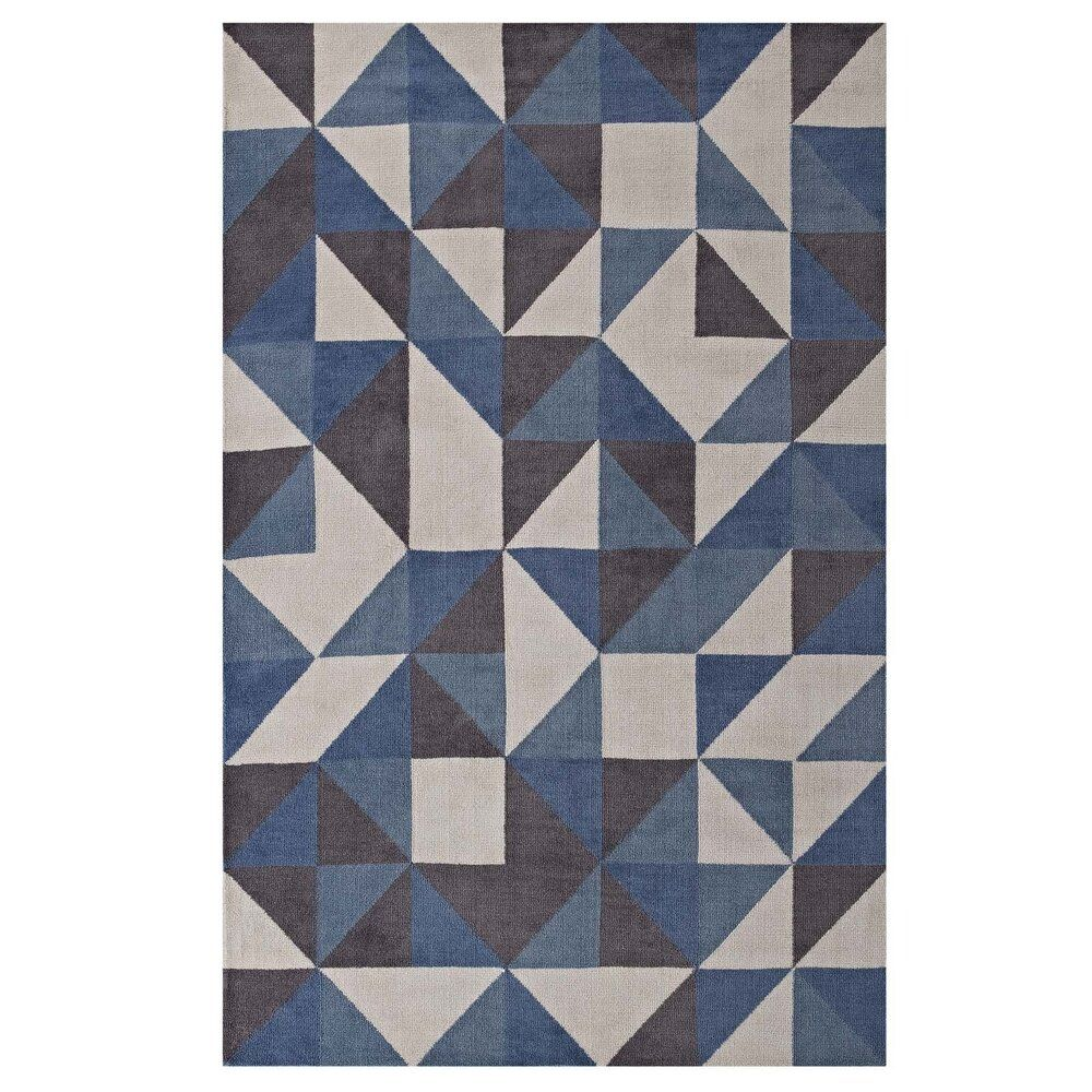 Kahula Geometric Triangle Mosaic 5 X 8 Area Rug Blue White And Gray In 2021 5x8 Area Rugs Mosaic Rugs 8x10 Area Rugs