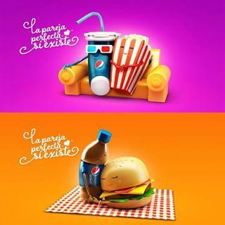 """La pareja perfecta sí existe"", gráficas de Nexus BBDO (Bolivia) para Pepsi"