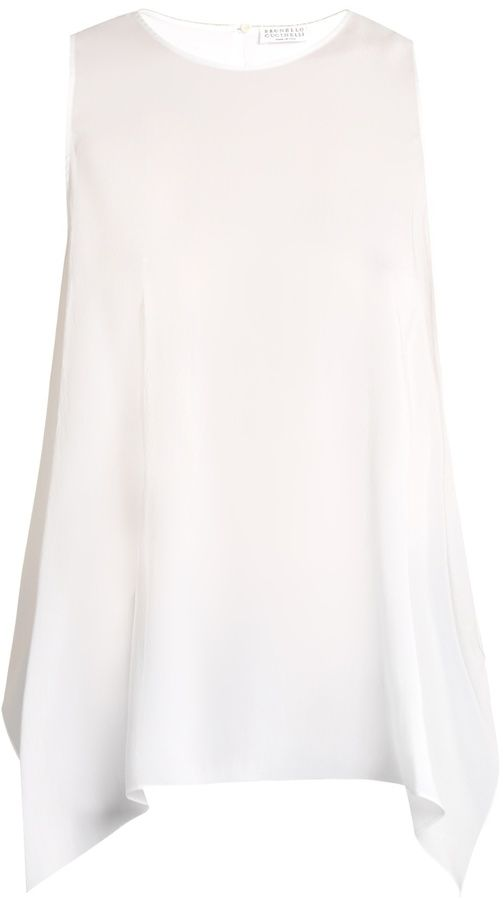BRUNELLO CUCINELLI Monili-embellished silk-blend tank top
