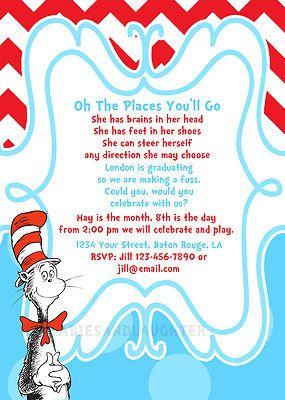Custom Preschool Kindergarden Dr Suess Graduation Invitation Digital File 5x7