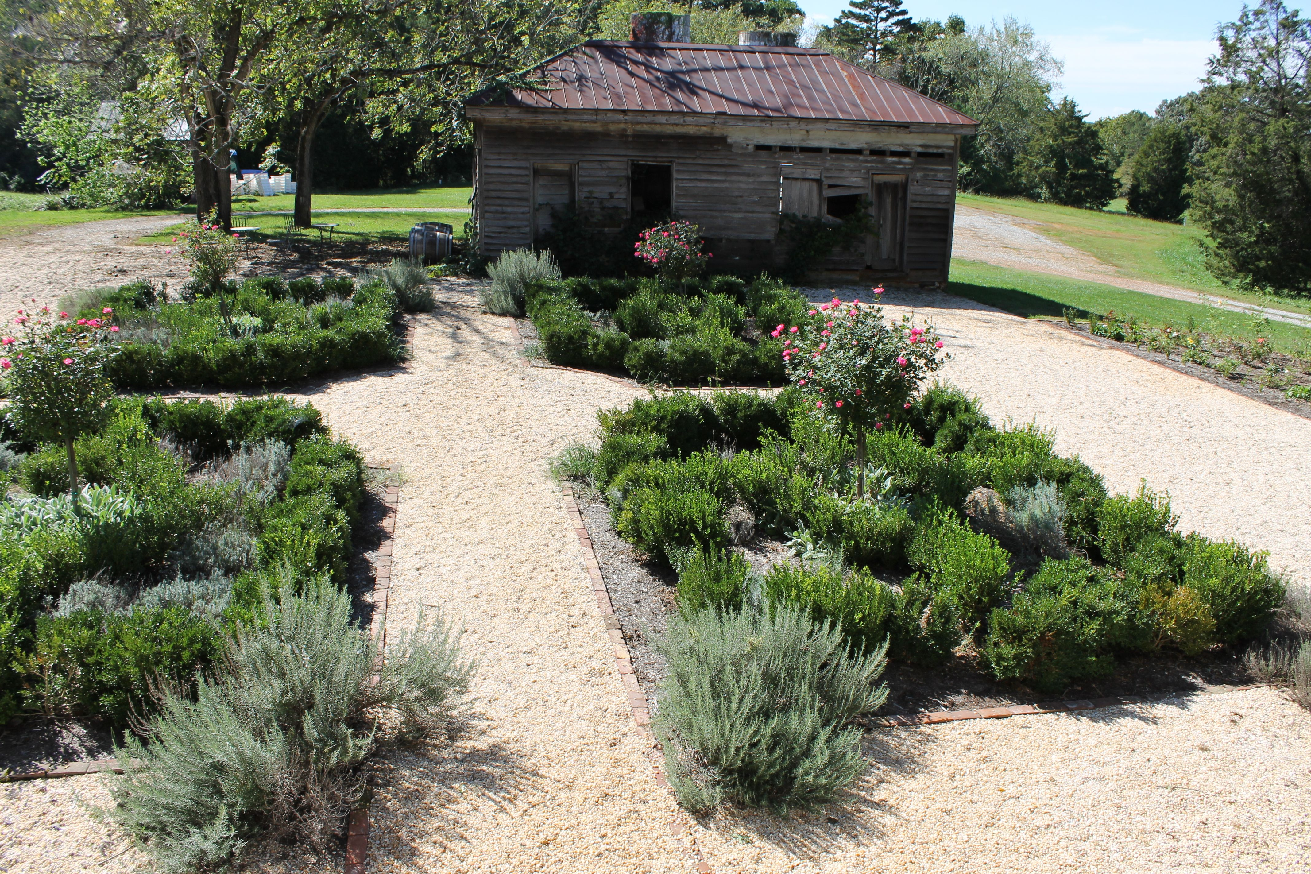 The beautiful kitchen garden at Annefield, a boutique winery in Southside Virginia.