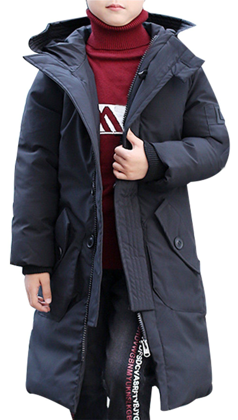 82a97fdab SellerFun Boy Winter Long Solid Hooded Puffer Coat Button Zip Padded ...