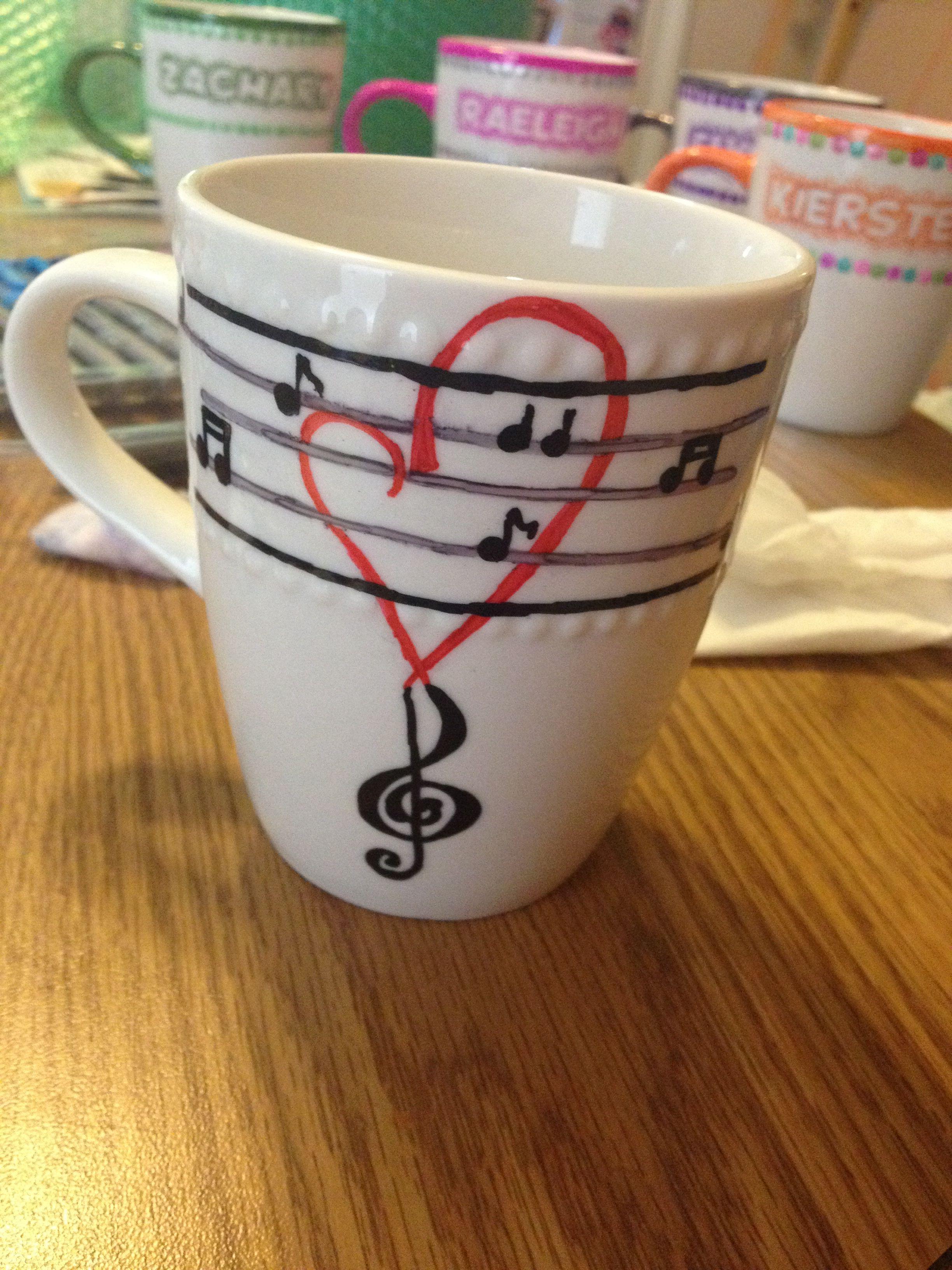 music notes, sharpie mug Mug crafts, Sharpie mug art