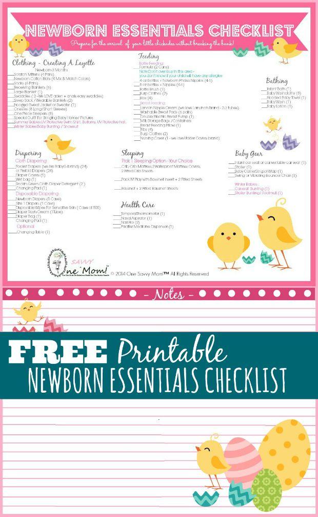 Newborn Essentials Checklist - Preparing For Baby + Free Printable - newborn checklist