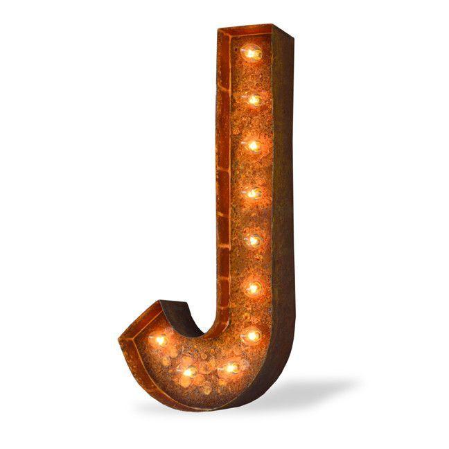 24u201d letter j lighted vintage marquee letters modern fontrustic - Marquee Letter Lights