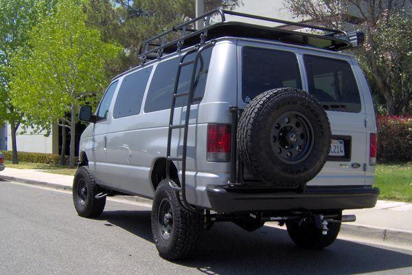 Aluminess Roof Rack Ladder And Rear Tire Rack Van Ford Van 4x4 Van