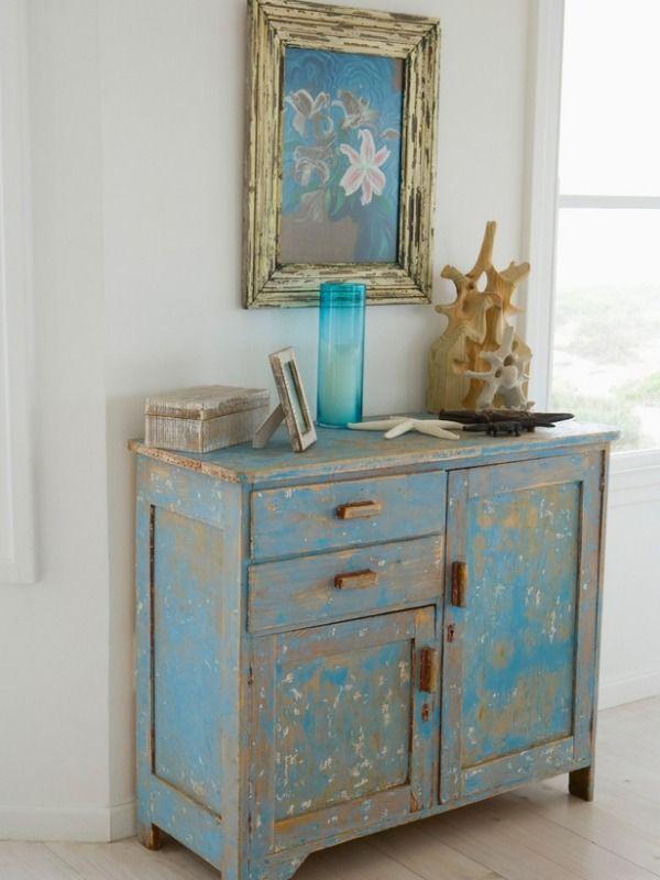 Super vintage möbel antike look selber machen hellblau kommode | chalk KS59