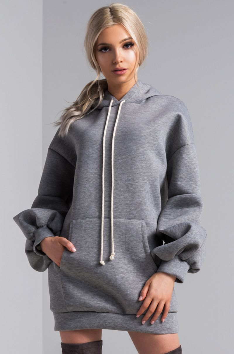 Remade For The Runway The Remake Scuba Hoodie Dress Is Not Your Slobbing Around Casual Featuring Ruched Bishop Sleeves An Hoodie Dress Hoodies Bishop Sleeve [ 1209 x 800 Pixel ]