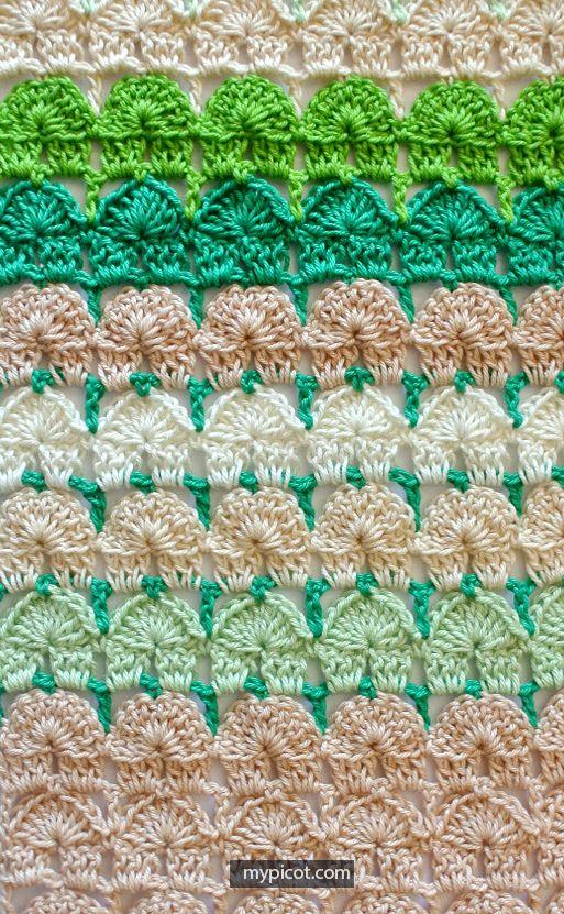 Crochet Shell Stitch Tutorial - (mypicot) | Crochet stitches ...
