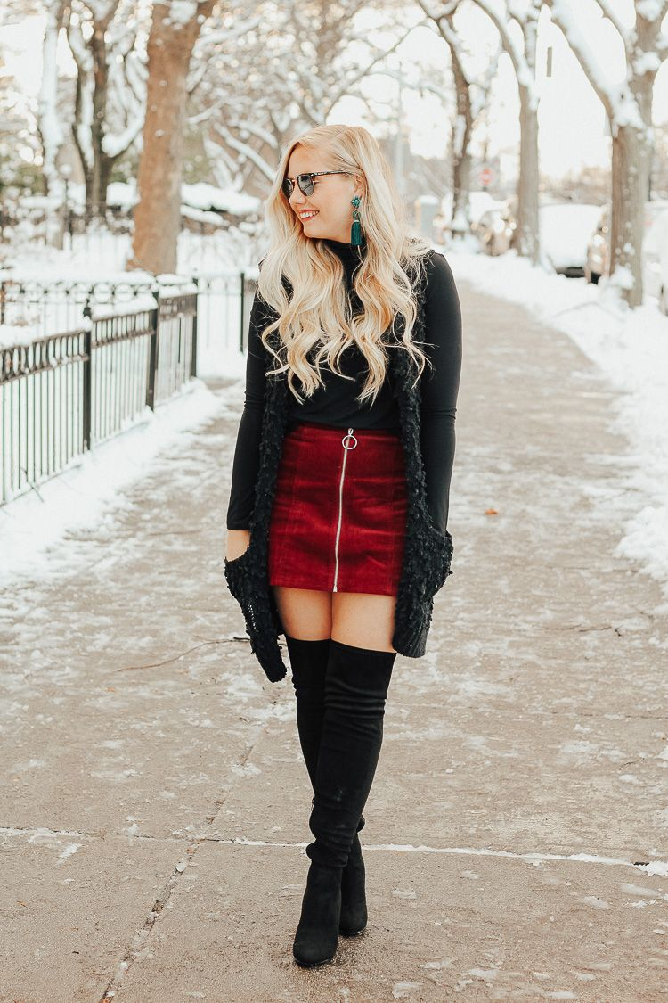 Winter Going-Out Outfit + Over the Knee Boots   Stylish ...