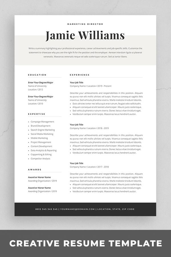 Modern Resume Template | Creative CV for Word | Elegant ...