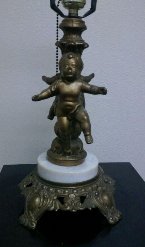 Vintage Cherub Lamp Base Brass Marble French Chic Shabby