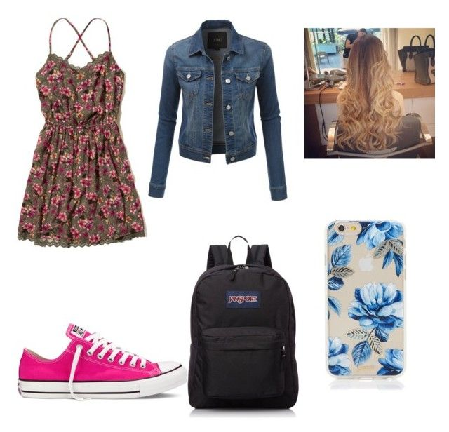 """""""Stylish!"""" by madelincarcamo ❤ liked on Polyvore featuring Hollister Co., LE3NO, Converse, JanSport and Sonix"""