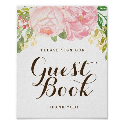 Template  Pink Peonies Guest Book Sign X  Template