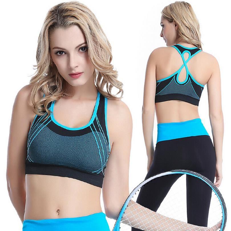 bbc8fb3537 New Brand No Rims Sports Bra Come Cross Vest Quick-Drying Running Fitness Yoga  Bra Underwear Training G701