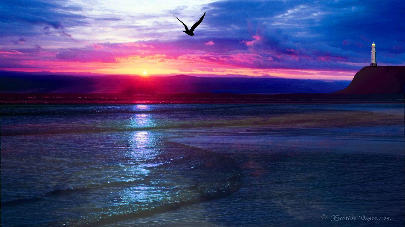 cool ocean sunset wallpaper