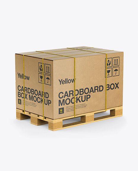 Wooden Pallet With Kraft Box Amp Straps Mockup Half Side View Mockup Free Psd Mockup Psd Box Mockup