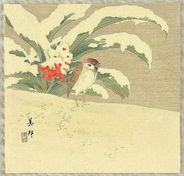 Sparrow in Snow, by Biho Takahashi b. 1873)