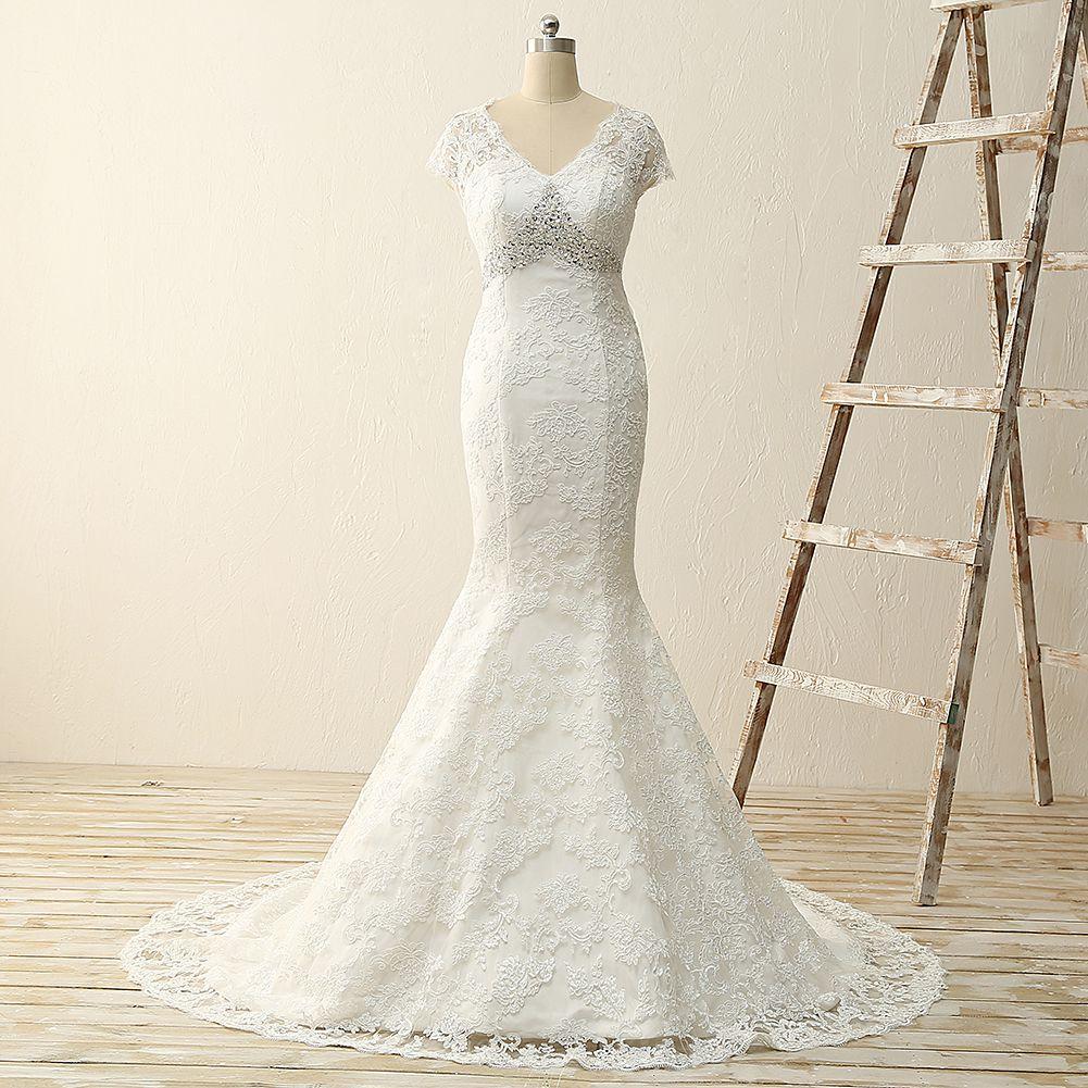 W lace mermaid wedding dressempire waist lace mermaid wedding