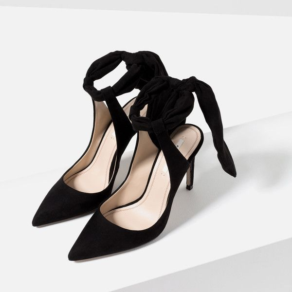 Zara Slingback High Heel Shoes With Bow ($60) ❤ liked on Polyvore featuring shoes, leather footwear, fleece-lined shoes, zara shoes, real leather shoes and genuine leather shoes
