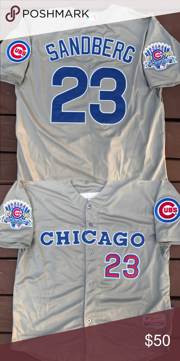 new product 7de53 a6c65 Men's Ryne Sandberg Cubs 1990 All Star Jersey (L) Men's ...