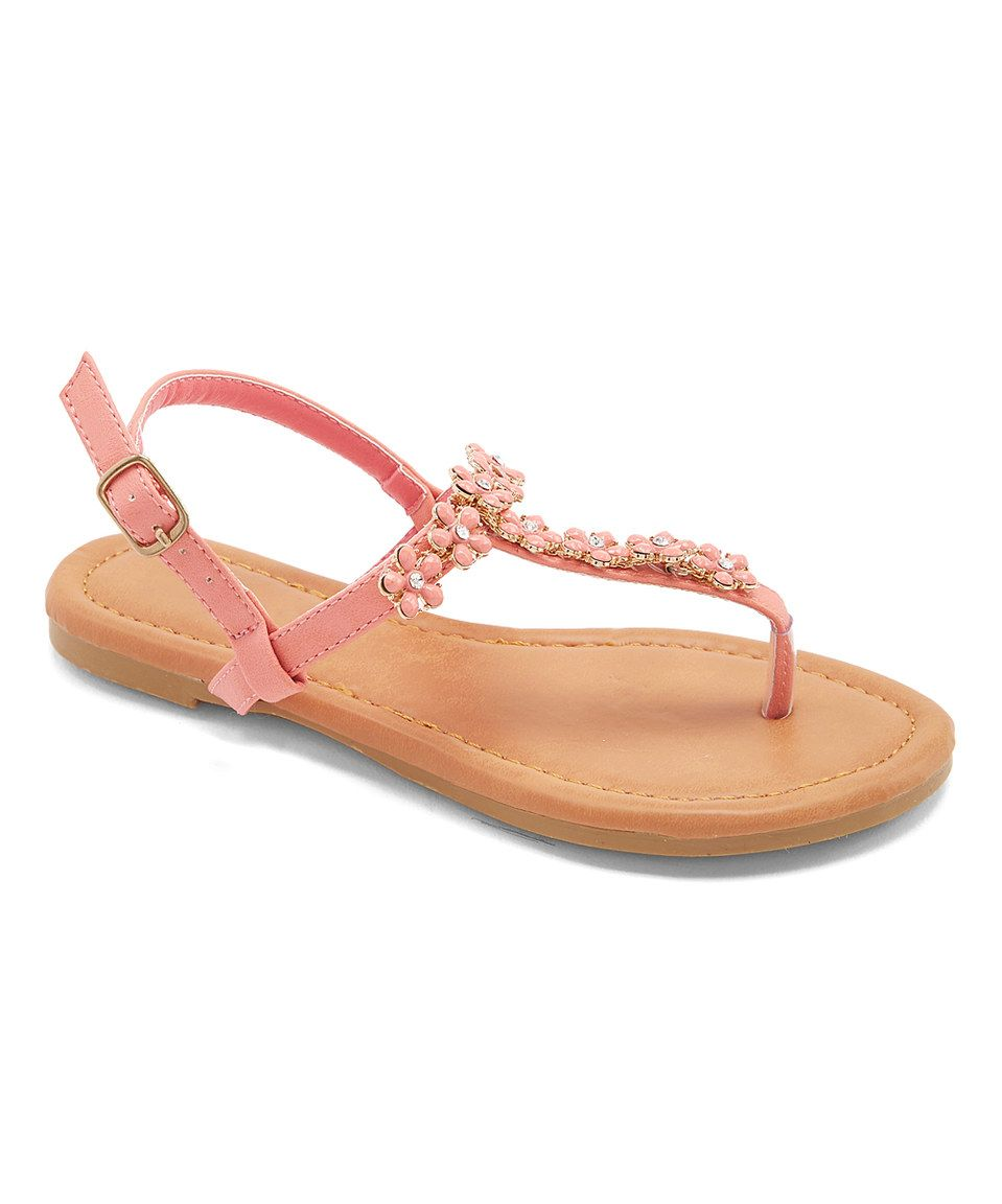 This Lucky Top Coral Embellished Anna Sandal by Lucky Top is perfect! #zulilyfinds