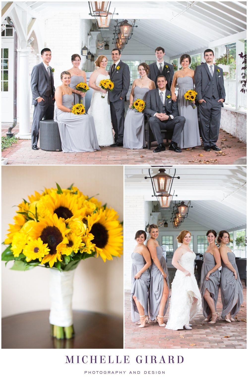 Burgundy and Grey Wedding with Sunflowers