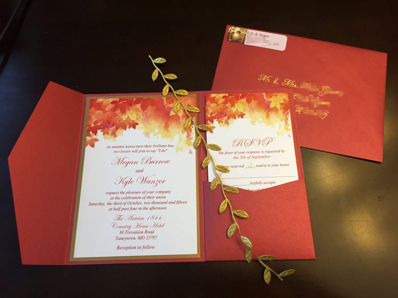 Fall Wedding Pocketfold Invitation Suite - Autumn Leaves Invitation ...