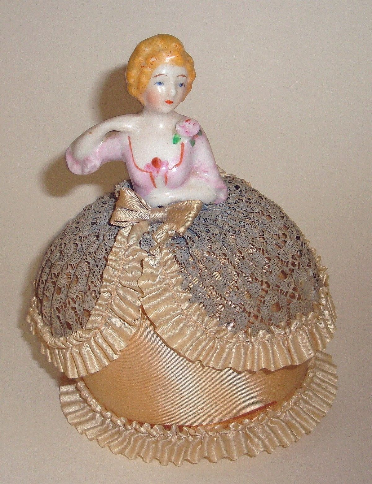 Vintage Doll PIN Cushion Fancy PIN Cushion Skirt With Porcelain Half Doll | eBay