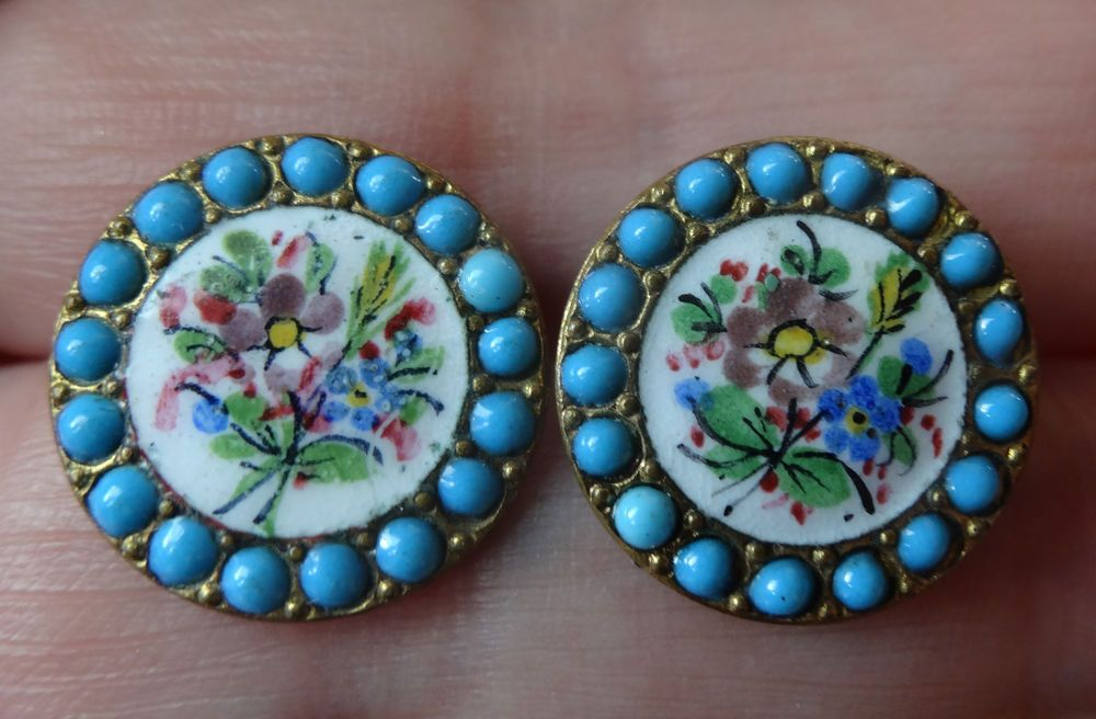 ANTIQUE FORGET ME NOT FLOWER ENAMELLED AND TURQUOISE GEM SET PAIR OF 2 BUTTONS