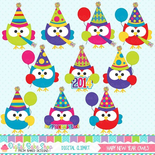 happy new year owls clipart adorable brightly colored owls celebrating the new