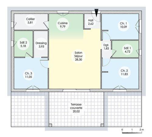 Une maison de plain pied en corse en 2019 plans maison plan maison maison plain pied et maison - Construire sa maison plain pied ...