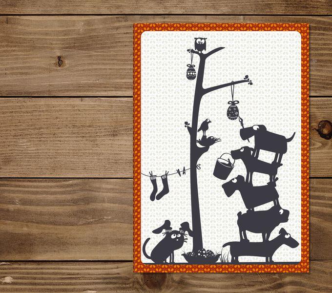 Klappkarte OSTERN von cats on appletrees auf DaWanda.com
