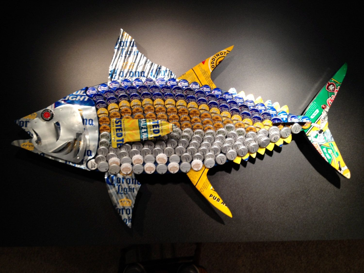 Yellowfin tuna fish beer cap can art by brewartbybill on for Bottle top art projects