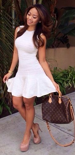 Olivaceous White Ribbed Sleeveless Ruffle Tulip Flare Fitted Sexy ...