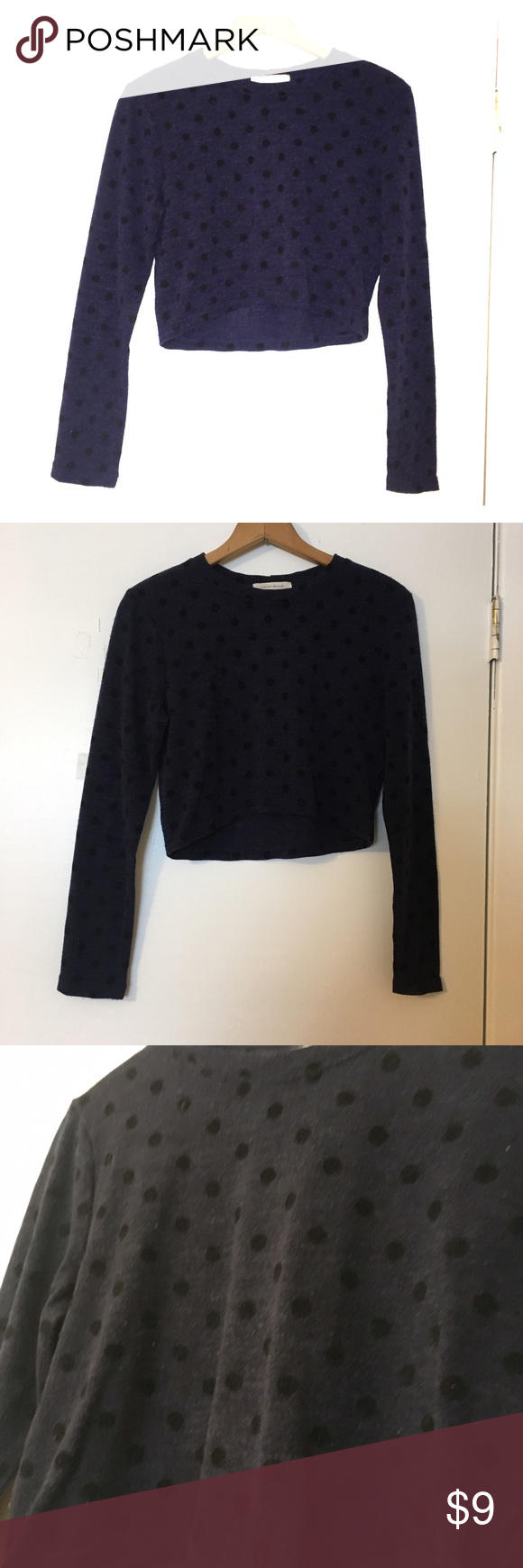 Navy Polka Dot Cropped Sweater | Blue sweaters, Scoop neck and Navy