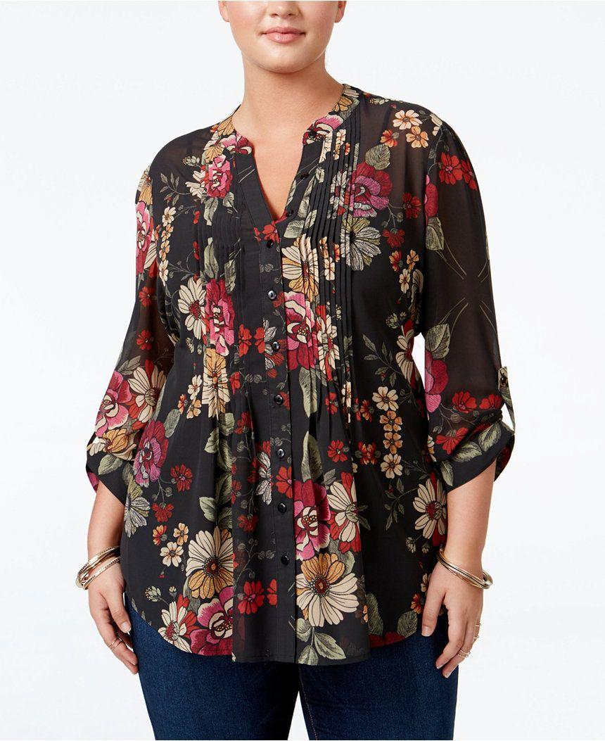 b9a0a689d63 American Rag Trendy Plus Size Floral-Print Blouse
