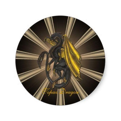 Gold Topaz Dragon Stickers