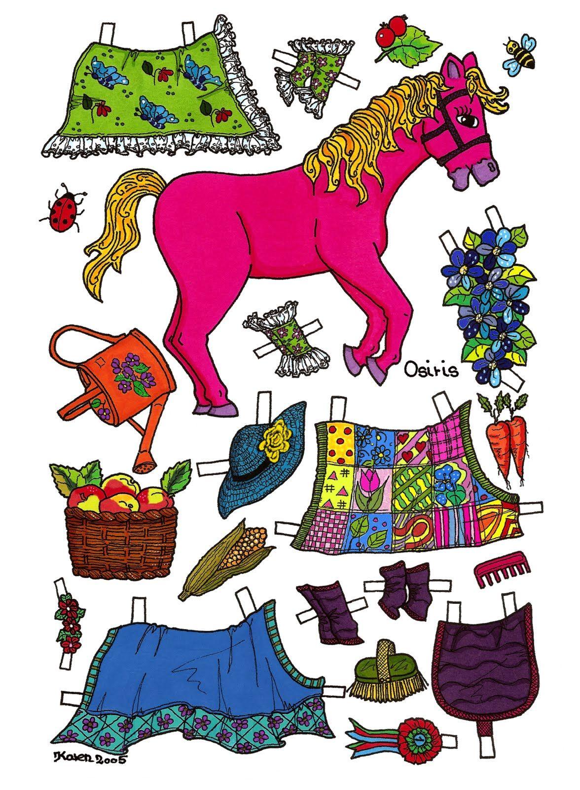 Karen`s Paper Dolls: Osiris, Paper Doll Horse to print in Colours. Osiris påklædningsdukke hest til at printe i farver.