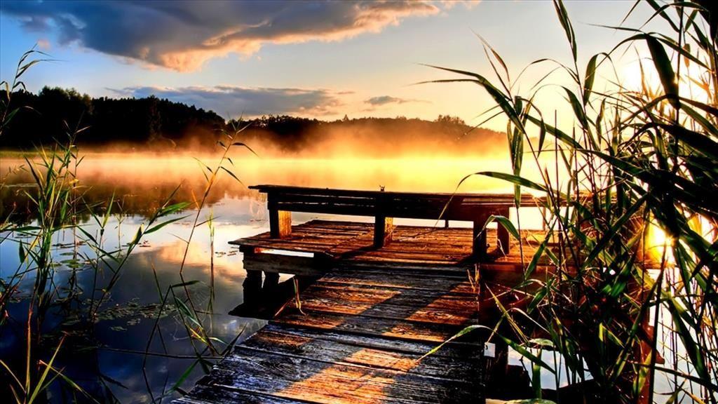 Fond D Ecran Ponton Sur Le Lac Coucher De Soleil Lac Fond Ecran