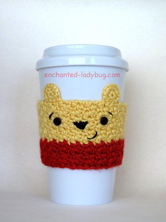 Free Crochet Winnie The Pooh Coffee Cup Cozy Pattern A Crochet Cozy