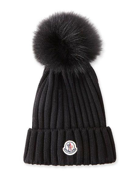 aa8c5986ff7 MONCLER Ribbed-Knit Beanie Hat W Fur Pompom
